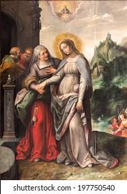 ANTWERP, BELGIUM - SEPTEMBER 5, 2013: The Visitation of Virgin Mary to Elizabeth by Frans Francken (1581 - 1642) in Saint Pauls church (Paulskerk)