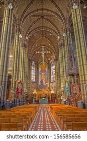 ANTWERP, BELGIUM - SEPTEMBER 5: Nave of Joriskerk or st. George church from 19. cent. on September 5, 2013 in Antwerp, Belgium
