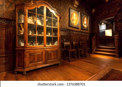 ANTWERP, BELGIUM: Vintage wooden furniture and old shelves in printing museum of Plantin-Moretus, UNESCO World Heritage Site on March 30, 2018. More than 1,200,000 people lives in Antwerp