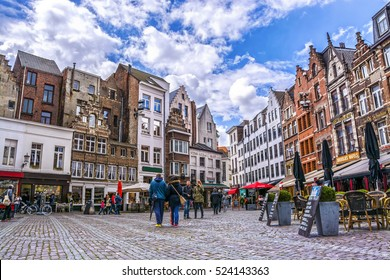 ANTWERP, BELGIUM-APRIL 23, 2016: View of historic houses and retro cafe on street of Belgium.