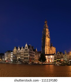Antwerp by night with the Cathedral of Our Lady
