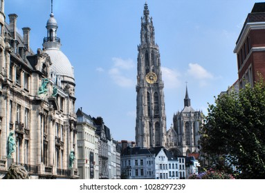 Antwerp Cathedral of Our Lady from the Distance, Belgium