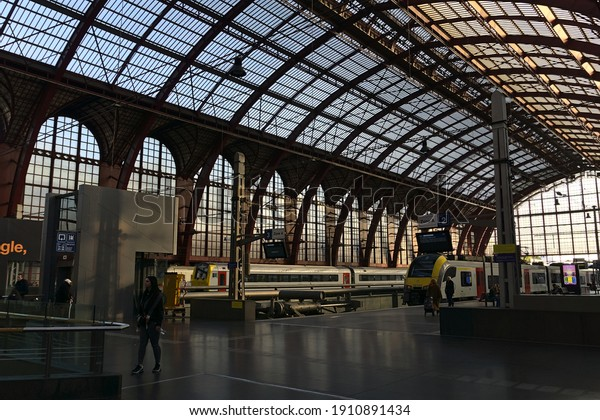 Antwerp Centraal train station terminals in the upper level, Antwerp, Belgium. Photo was taken on 30.10.2019 early morning during Autumn. Station is still in shadows.