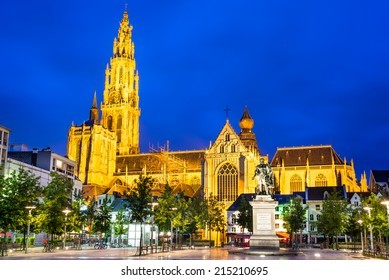Antwerp. Church of Our Lady gothic cathedral and Peter Paul Rubens statue, seen from Groenplaats. Flanders, Belgium.