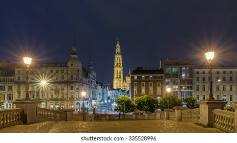 Antwerp City, Belgium, Beautiful Panorama of The Cathedral of Our Lady at Night with Old Town, Landmark of Antwerp. Roman Catholic cathedral