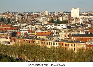 Antwerp city skyline with colourful buildings