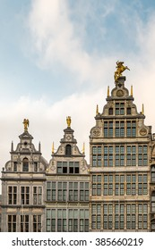 Antwerp, Facades of Guild buildings in the Grote Markt square in old town Cityscape under Golden Sky Sunset in Summer, Antwerpen, Belgium