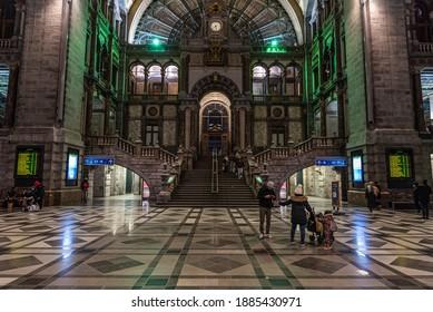 Antwerp, Flanders - Belgium - 12 28 2020: Interior design of the renovated Central Railway station
