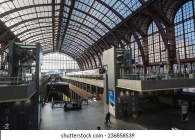 ANTWERP, FLANDERS, BELGIUM - November 13th 2014 - The Interior of Antwerp Central Station