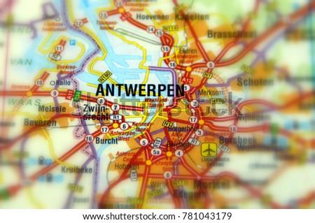 Antwerp Map Europe.Antwerp Flemish City Belgium Capital Antwerp Stock Photo Edit Now