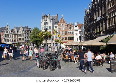 ANTWERP - JULY 9: People on the Grote-Markt in the historical centre on July 9, 2013 in Antwerp, Belgium. Antwerp is the second biggest city in Belgium with population of 512,000.