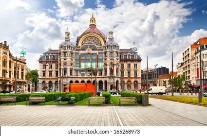 ANTWERP - MAY 3: Exterior of Antwerp main railway station on May 3, 2012 in Antwerp, Belgium. The original station building was constructed between 1895 and 1905.