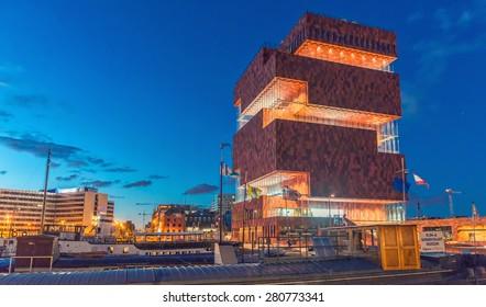 ANTWERP - MAY 3: Museum aan de Stroom (MAS) along the river Scheldt in the Eilandje district of Antwerp, Belgium, on May 3, 2015. Opened in May 2011, is the largest museum in Antwerp