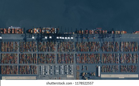 Antwerp Port (Antwerp Harbor) Shipping Ships and Containers