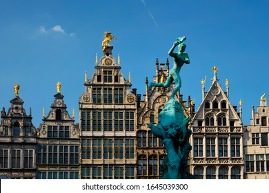 Antwerp row of 16th century old houses Monumental Guildhouses facades on Grote Markt square. Antwerp, Belgium, Flanders