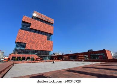 ANTWERP - SEPTEMBER 17:  Museum aan de Stroom (MAS) located along river Scheldt is a 60m tall building designed by Neutelings Riedijk Architects, taken on September 17, 2014 in Antwerp, Belgium