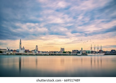 Antwerp Ship View. A cityscape with the 'Juan Sebastian de Elcano'. A training ship for the Royal Spanish Navy. It is a four-masted topsail and is the third-largest tall ship in the world.