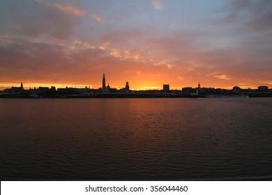 Antwerp skyline by sunrise