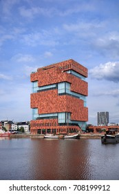 ANTWERP-AUG. 24, 2017. MAS Museum Antwerp. It has opens its doors in 2011, located in an old harbor on a small island, exhibits a variety of topics, emphasis is on connection between city and world.