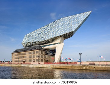 ANTWERP-AUGUST 24, 2017. Port House Antwerp. Zaha Hadid Architects added a glass extension to a renovated fire station. With a total of 12,800 square meters the headquarters houses a 500 staff.