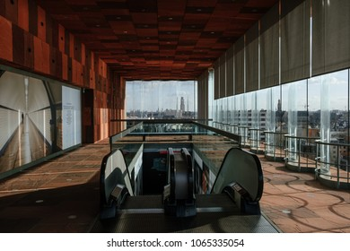 Antwerp/Belgium - April 5th 2018: Museum aan de Stroom or Museum by the River. For short - MAS Museum in Antwerpen. Interior view. Materials: curved glass panel and Indian red sandstone