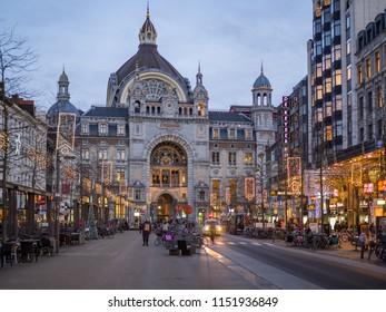 ANTWERP,BELGIUM - December, 2017 - View at the Railway station building in Antwerp. Antwerp is a city in Belgium, and is the capital of Antwerp province in Flanders.