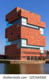 ANTWERP,BELGIUM - JUL 9, 2013: View on the MAS museum building in Antwerp.