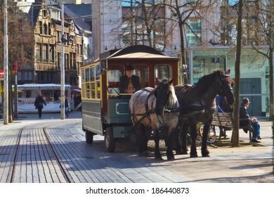 ANTWERP,BELGIUM-18 MARCH:Tourist horse carriage on March 18,2014 in Antwerp.