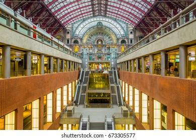 ANTWERP,BELGIUM-April 25 ,2017: Vintage and wonderful train station in Antwerp city ,Belgium.