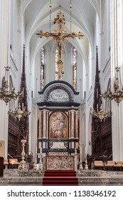 ANTWERPEN, BELGIUM - MAY 06, 2018: The altar of the Cathedral of Antwerp Our Lady and the painting of Peter Paul Rubens Assumption of the Blessed Virgin Mary (1926)