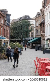 Antwerpen/Belgium - April 5th 2018: Old Town of Antwerpen. Cafes and passages