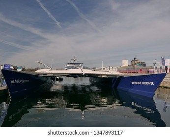 Antwerpen/Belgium - March 24 2019: Energy Observer boat at the loading dock in the harbor of Antwerp. Energy Observer is the first hydrogen powered vessel