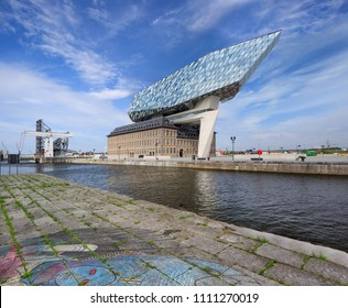 ANTWERP-FEB. 25, 2018. Antwerp Port headquarters. Zaha Hadid Architects added a glass extension to a renovated fire station. With a total of 12,800 square meters the headquarters houses a 500 staff.