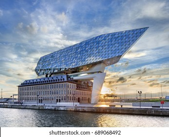 ANTWERP-JULY 30, 2017. Port of Antwerp headquarters, design Zaha Hadid, former fire station with a massive sculpture on top with diamond shaped glass, tribute to trade for which the city is renowned.