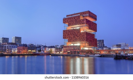 ANTWERP-JUNE 5, 2018. MAS Museum Antwerp at twilight. It has opened in 2011, located in an old harbor on a small island, exhibits variety of topics, emphasis is on connection between city and world.