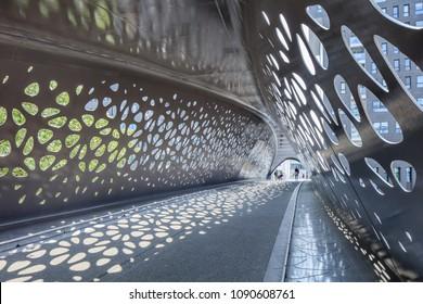 ANTWERP-MAY 9, 2018. Interior of Park Bridge, a pedestrian and cyclist bridge that connects Park Spoor Noord over the Noorderplaats with Het Eilandje.