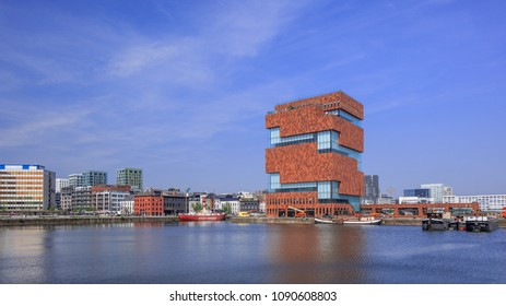 ANTWERP-MAY 9, 2018. MAS Museum Antwerp. It has opens its doors in 2011, located in an old harbor on a small island, exhibits a variety of topics, emphasis is on connection between city and world.