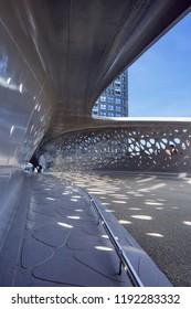 ANTWERP-SEPT. 17, 2018. Interior of Park Bridge, pedestrian and cyclist bridge that connects Park Spoor Noord over the Noorderplaats with Het Eilandje. It has has won the Berlin Footbridge Award 2017