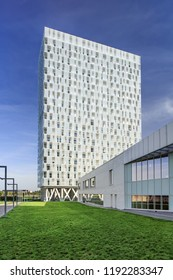 ANTWERP-SEPT. 17, 2018. Residential Parktower. It has 115 luxurious assisted-living apartments spread over ten top floors, offers seniors live independently in a safe way, while maintaining privacy.
