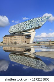 ANTWERP-SEPT. 24, 2018. Antwerp Port headquarters. Zaha Hadid Architects added a glass extension to a renovated fire station. With a total of 12,800 square meters the headquarters houses a 500 staff.