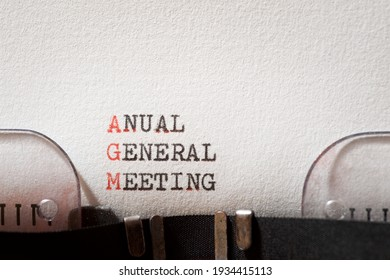 Anual general meeting phrase written with a typewriter.