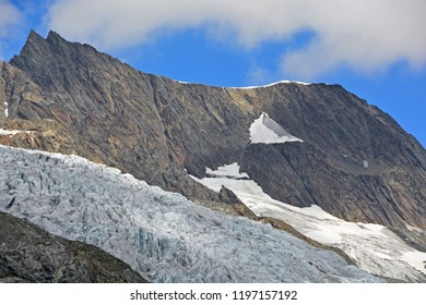 The Anungrat Ridge coming down from the Mittaghorn above the Lotschtal Valley in the Bernese Alps, Switzerland