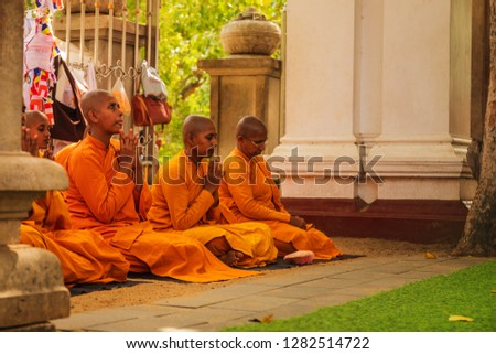 ANURADHAPURA, SRI LANKA - August 29,2018:women as monks who pray