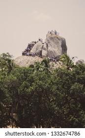 Anuradhapura, Sri Lanka - July 18, 2018 : Climbing to the top of Mihintale.