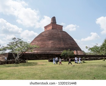 Anuradhpura, Shri Lanka - January 2019: This is a great stupa belonginging to the Abhayagiri temple complex at Anuradhapura, Shri Lanka.