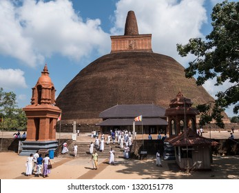 Anuradhpura, Shri Lanka - January 2019: The ancient Abhayagiri temple of Anuradhapura, Shri Lanka, is still a magnet for devotees.