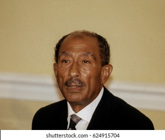 Anwar Sadat President of Egypt conducts a press conference in the sitting room of the Blair House during his state visit to the White House in Washington DC., August 6, 1981.