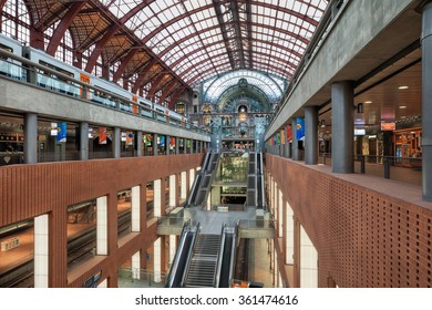 Anwerp, Belgium - Aug 14, 2015: Train arriving to central railway station of Antwerp