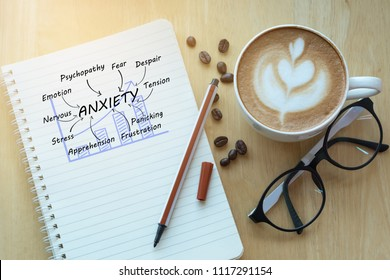 Anxiety concept on notebook with glasses, pencil and coffee cup on wooden table. Business concept.