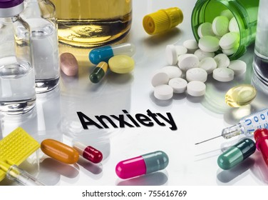 Anxiety, medicines as concept of ordinary treatment, conceptual image